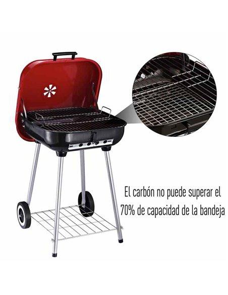 BARBACOA DE CARBÓN CON RUEDAS 45x47,5x70 CM | OUTSUNNY