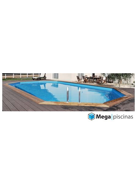 PISCINA DE MADERA OVALADA 551x351x119 GRE | CANNELLE