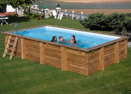 piscina rectangular de madera